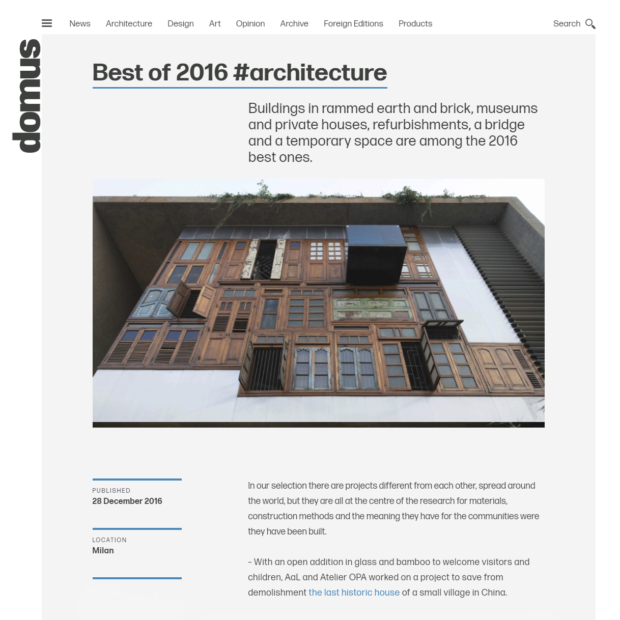 Domus. BEST of 2016 Architecture,