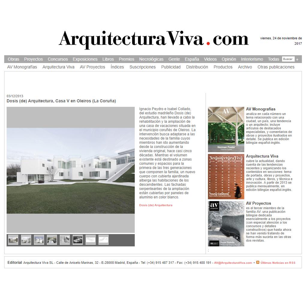 Arquitectura Viva. 2013