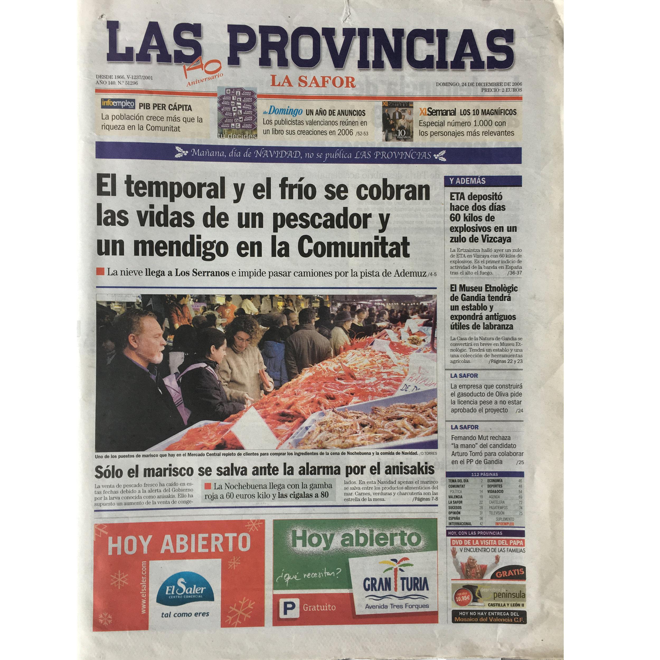 Las Provincias. 2006. (Printed publication)