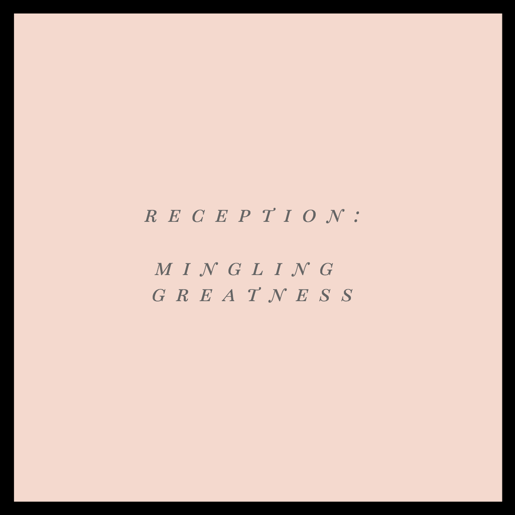 Reception: Mingling Greatness   This seven-hour playlist is amply supplied with the happiest folk-pop tunes, plus a healthy dose of throwbacks to keep the wedding festivities flowing.