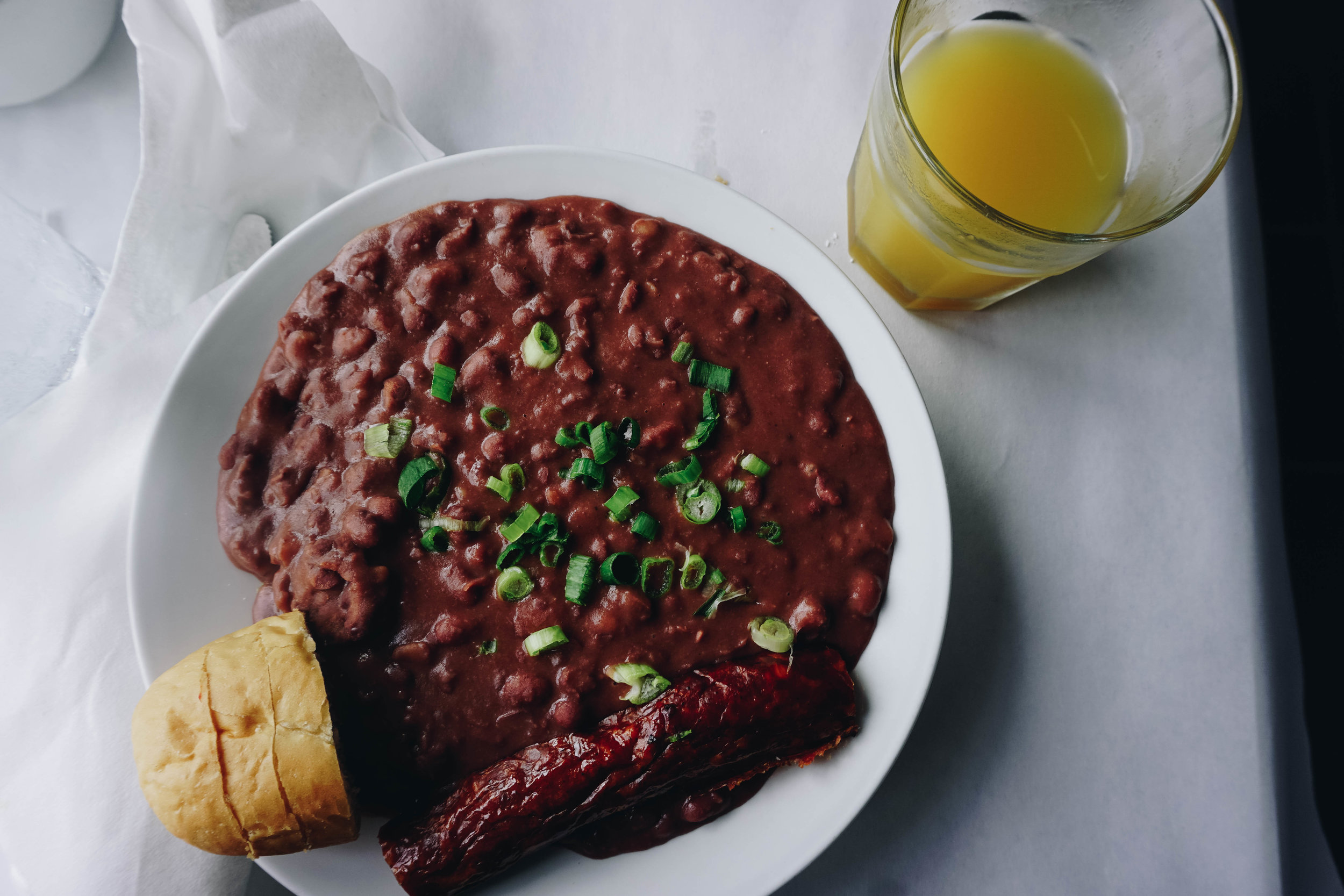 Huey's red beans and rice with Andouille sausage