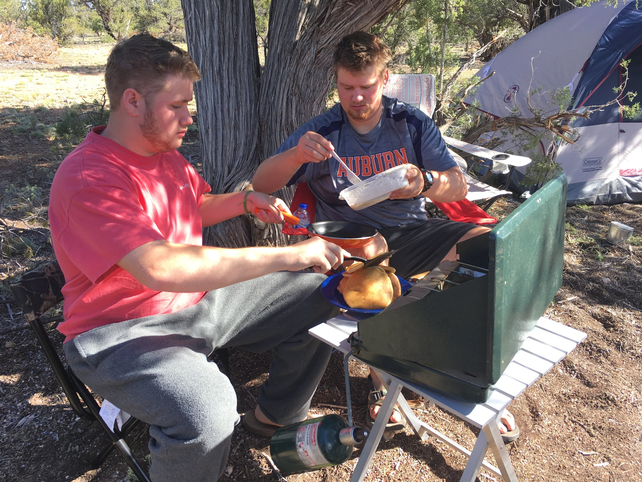 Breakfast at the Grand Canyon campsite