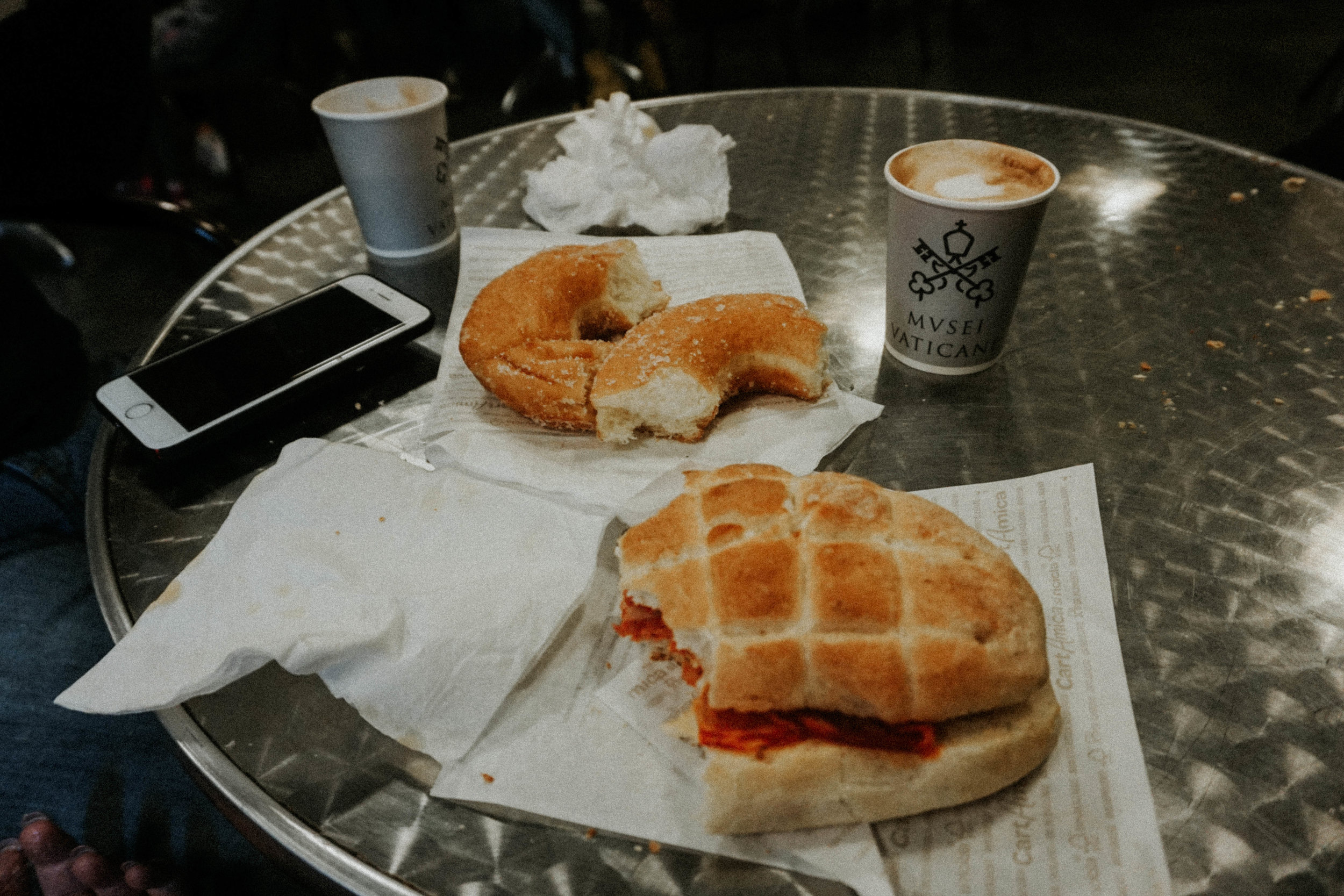 Papal cow milk cappuccini and some decent sandwiches. Welcome respite after a thorough soaking on the rainy tour.