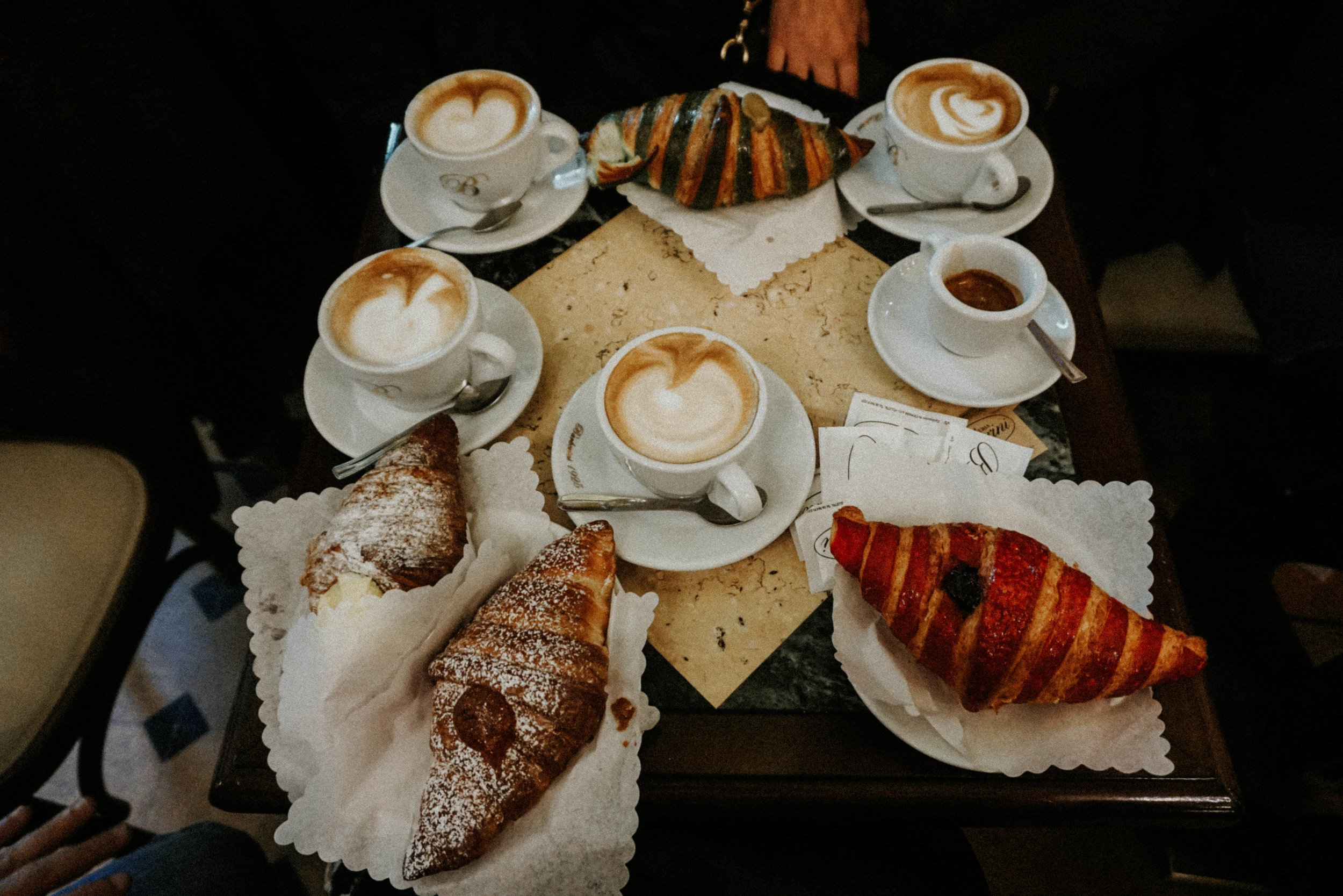 Pasticceria Barberini  with new friends.  The best  cappuccinos and cornetti thanks to Lida. A map of Rome was soon spread across this table where she was circling things and giving us advice!