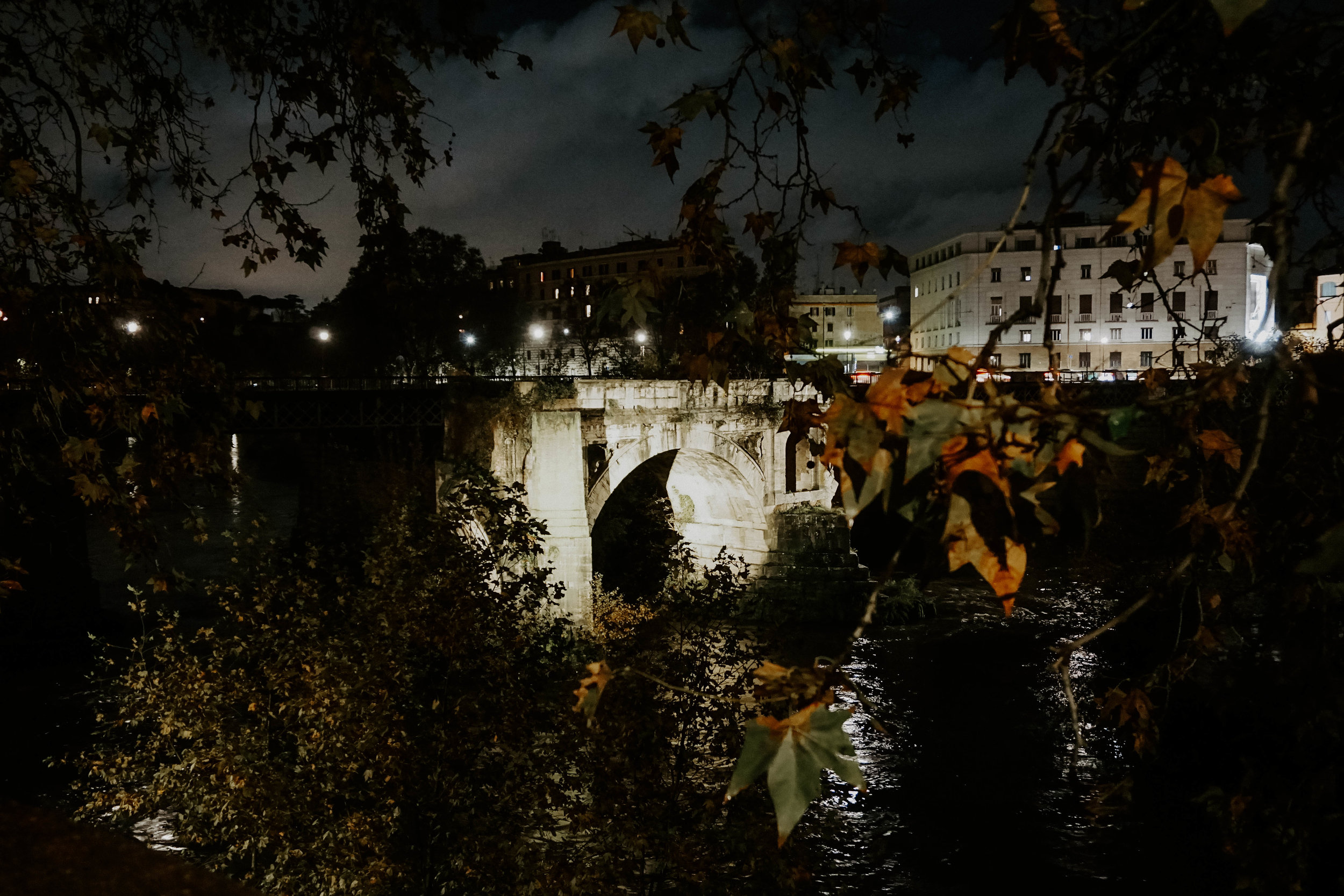 Tiber River on one of our many night walks
