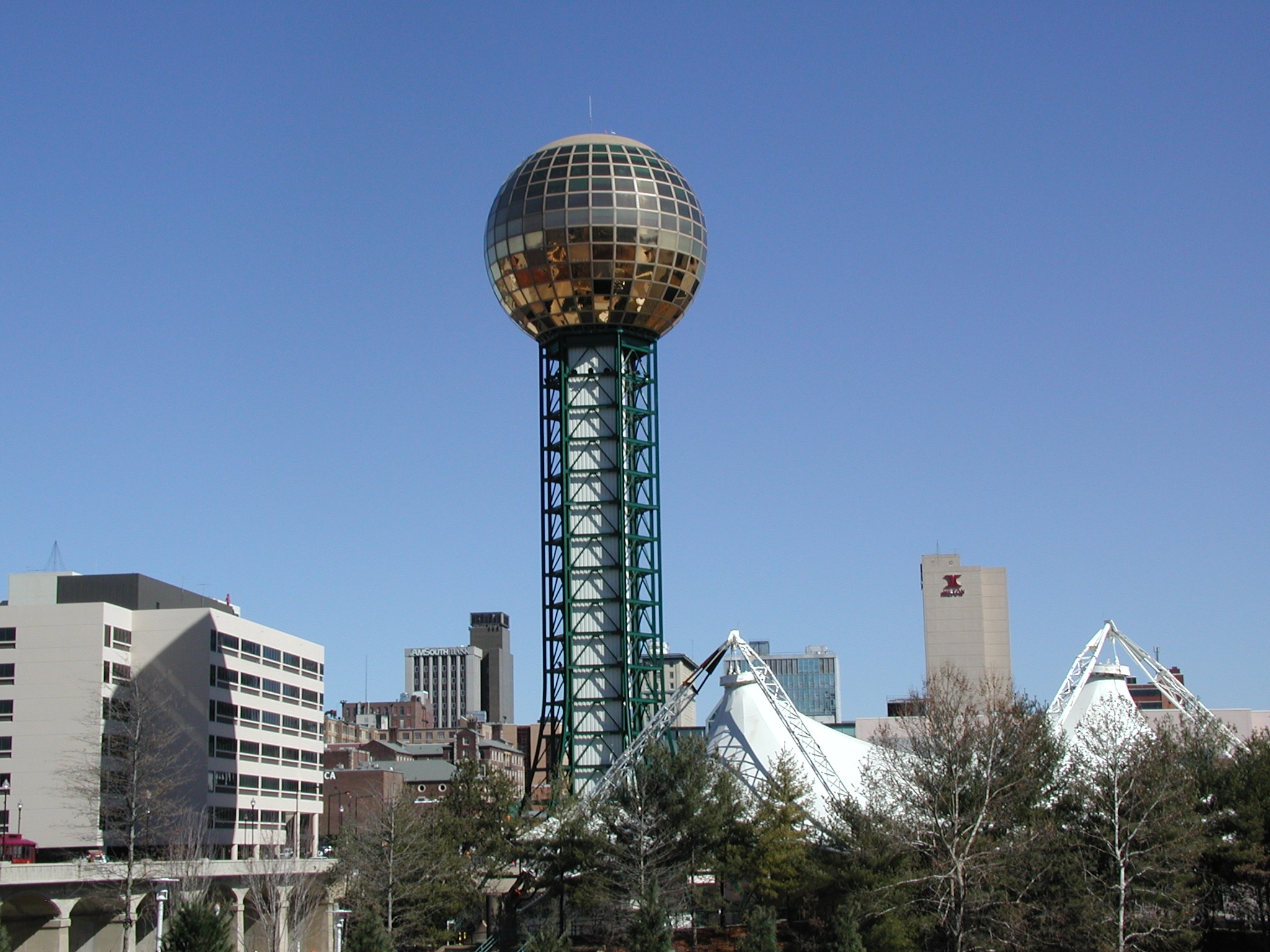 Knoxville Sunsphere - The Sunsphere in Knoxville, Tennessee was built as the theme structure for the 1982 World's Fair. The project architect was Bruce B. Thompson of Community Tectonics in Knoxville, TN, and the structural engineers were Socrates A. Ioannides and Jack H. Horner of Stanley D. Lindsey and Associates of Nashville, TN.