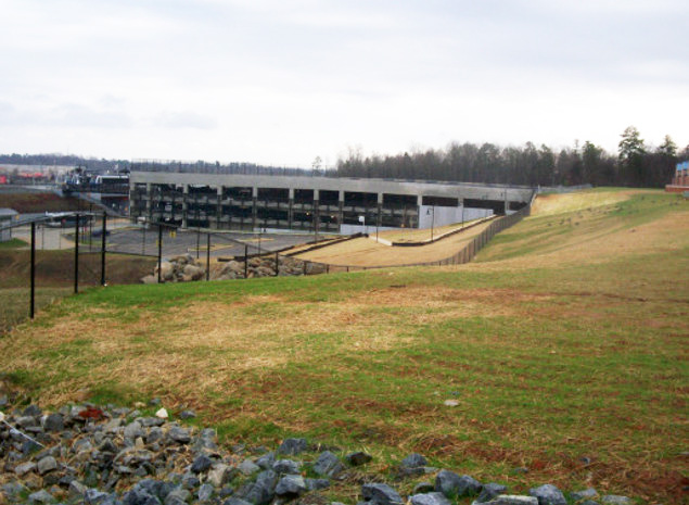 CATS Light Rail Line - Lightweight fill eases weight on a new parking deck at Interstate 485 and South Boulevard in Charlotte, NC that provides parking for local commuters to access the south end of the present Charlotte Area Transit System (CATS) light rail line.