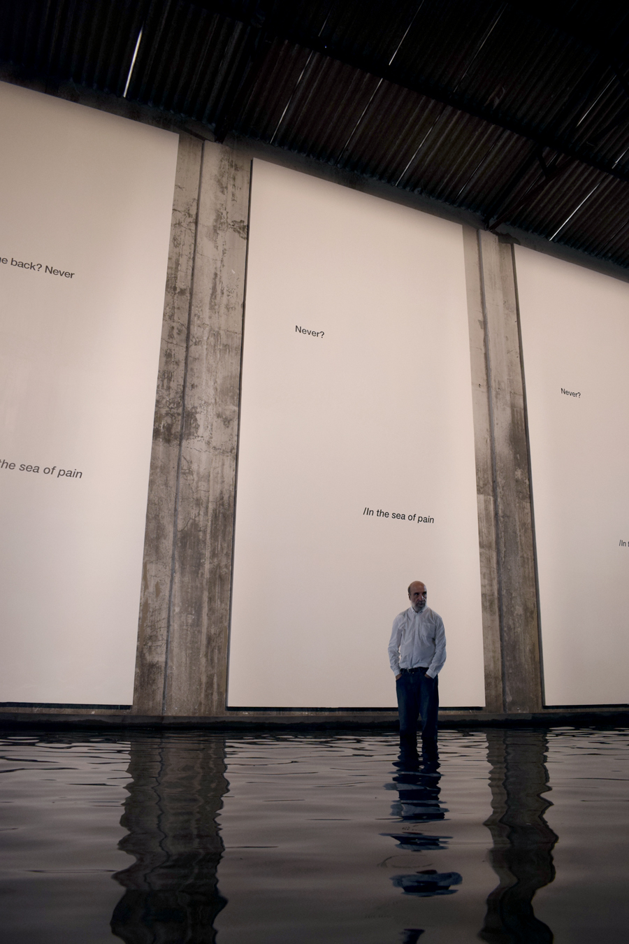 """Among his most important distinctions are the Guggenheim Fellowship in 1984, the National Award for Literature in 2000 and the Pablo Neruda Ibero-American Poetry Award.In the Kochi-Muziris Biennale 2016, he presented the poem-installation """"Sea of Pain"""", in which he paid homage to the victims and refugees of the crisis in Syria and to Alan Kourdi, the three-year-old boy that was found dead on a beach in Turkey. -"""