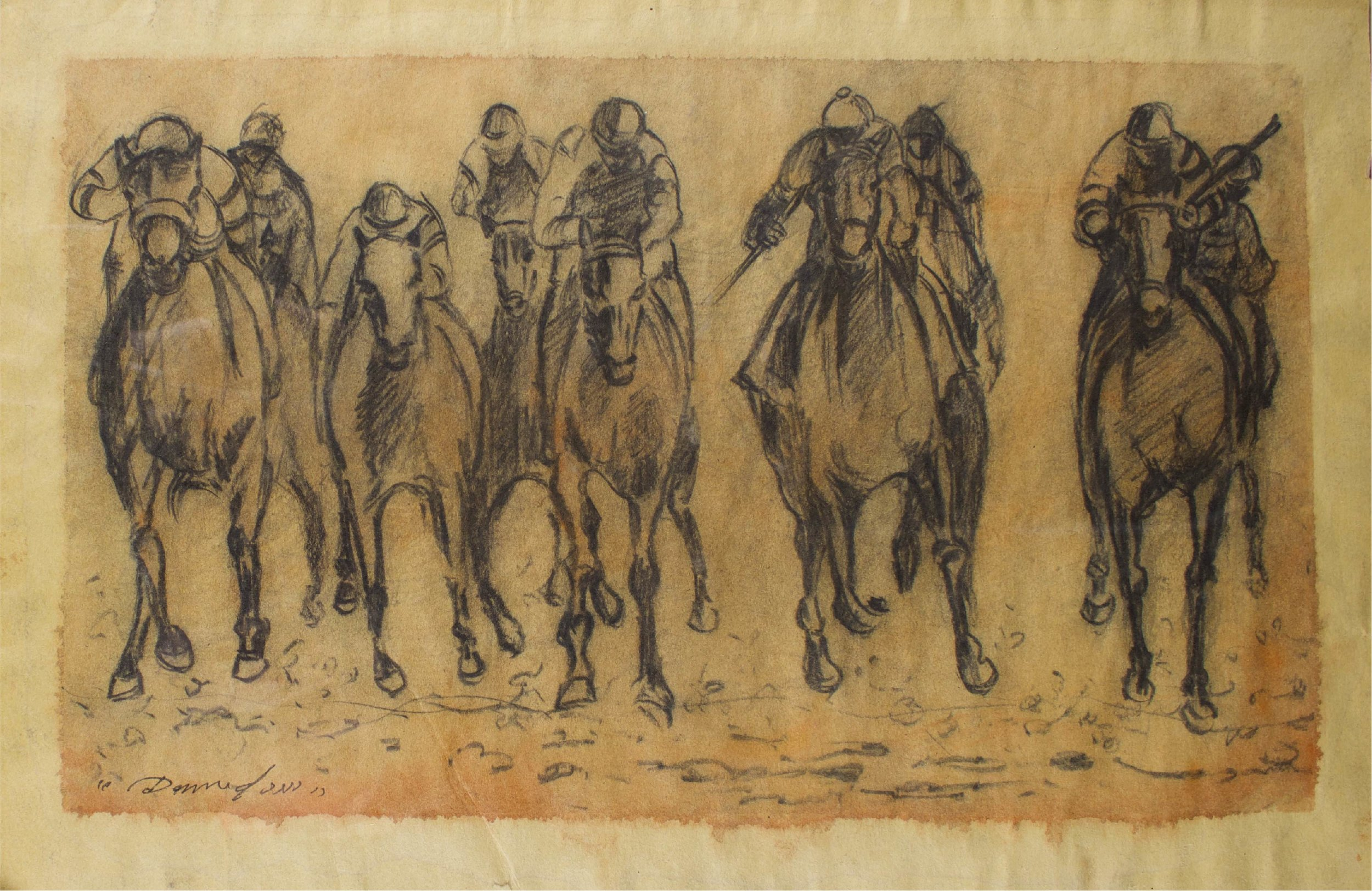 """""""horse Race Study""""      18"""" x 12""""      Charcoal and    Gouache on paper"""