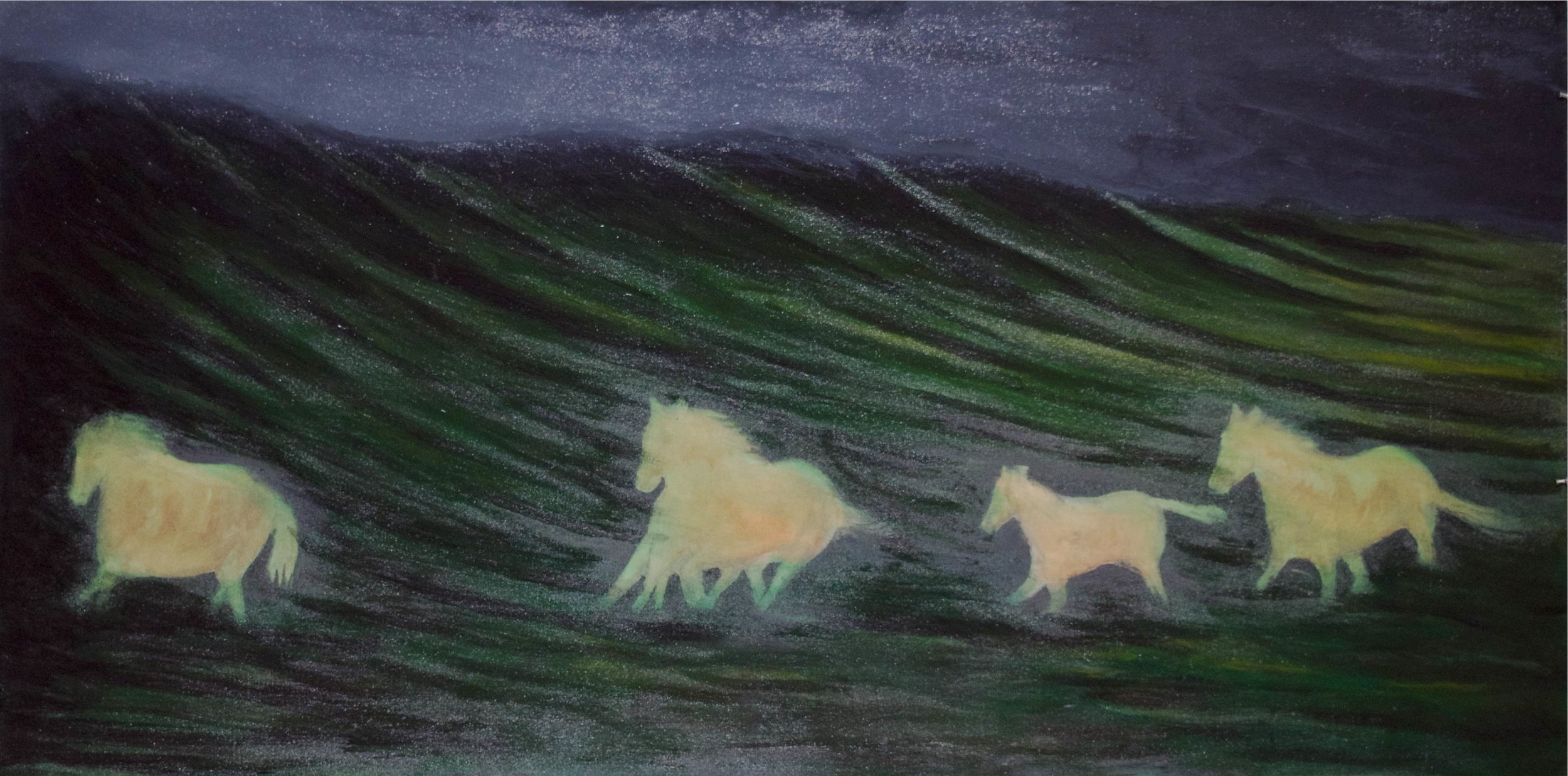 """""""Horse Ghosts""""    72"""" x 36""""    Oil on canvas"""