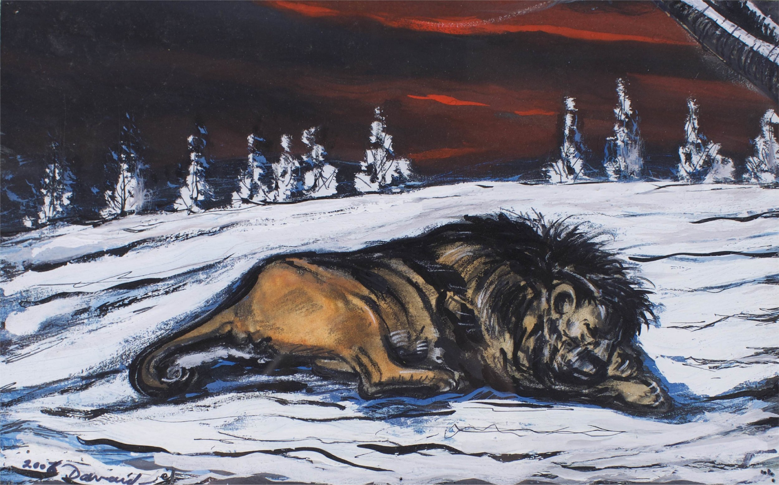 """""""Lion In Snow""""    12"""" x 17""""    Gouache on Paper"""