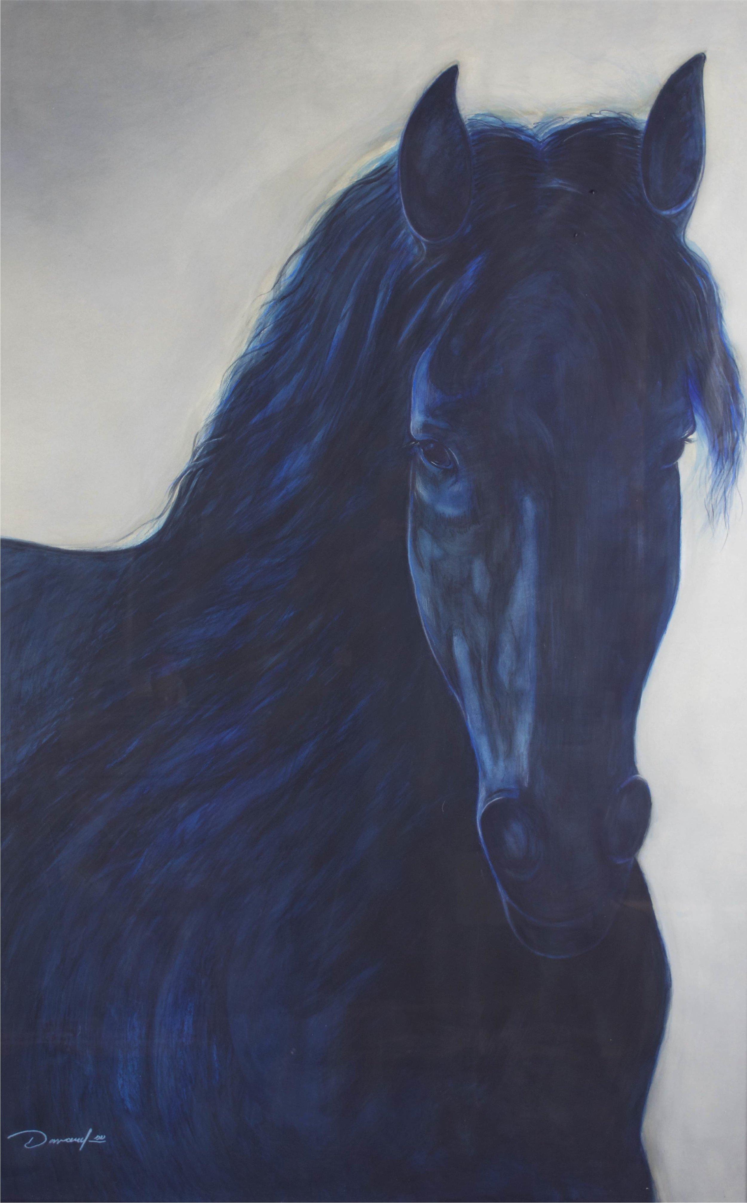 """""""Blue Horse""""     70"""" x 46""""     Gouache on Paper"""