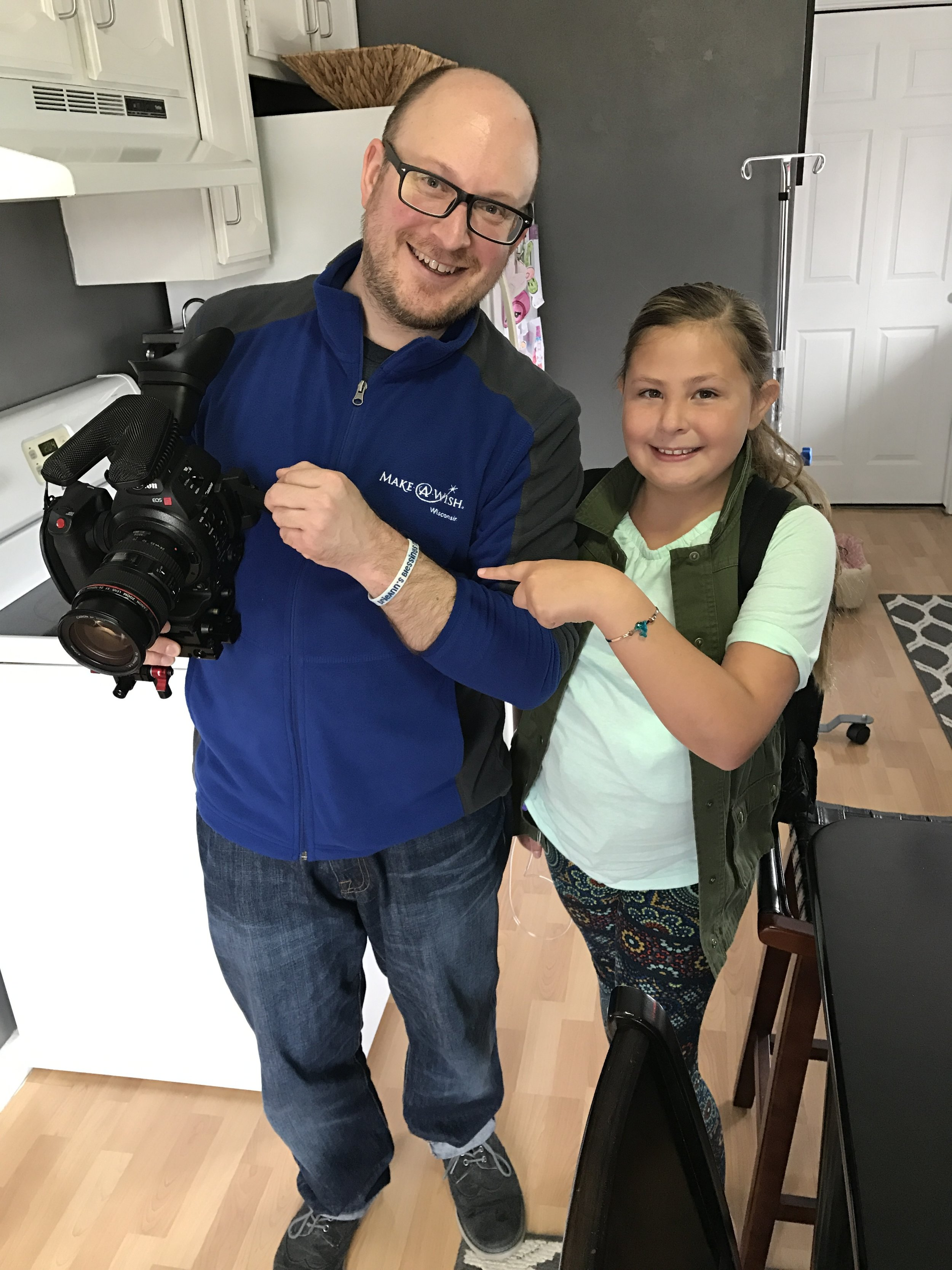Brian and BrieAnn after filming  BrieAnn's story for Make-A-Wish Wisconsin .