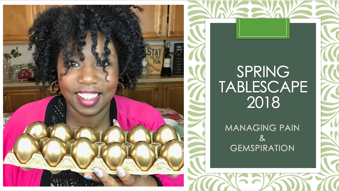 """Hi Beautiful Gems: Have you ever heard the term """"Betta Late than never?"""" I'm sure you have. Well, in this video SPRING   EASTER TABLESCAPE 2018, I'm practicing that theory that it's betta late than NEVER....  In this Spring tablescape, I DIY some Dollar Tree two black candlesticks by spray painting them white. I also DIY some golden eggs that were originally white plastic that I picked up from Target for three dollars. The margarita glasses are from Dollar Tree and add just the right elegance to this Spring refresh! Hubby and I also picked up a set of mint green plates from IKEA for just $1.99 each which just shout SPRING! The majority of the decor comes especially the bunnies and porcelain eggs from Blues City Thrift Store in Memphis along with a few items from Goodwill. This stunning tablescape is sitting on a gifted flowered table cloth. I added my special touch with white ribbons draping two of the chairs and gold placemats from Wal-Mart!  So, join me for as I chit chat and share my heart while dealing with pain from my recent accident and struggling to get back up again. Many times we don't share our challenges and try to put a brave face on covering while covering and hiding our pain with makeup and a cheerful smile. Today, I let you in with a a peek at the days and times when I too struggle. I am very transparent with where I am on this journey today.  If you don't want to hear the chit chat or my GEMSpiration (TM) which is a word/phrase that I coined in 2017 to accompany my brand, then I suggest you fast forward to about 19 0r 20 minutes to just watch the tablescape.  If you do stick around for the entire video, GEMSpiration included, then I truly THANK YOU for being committed to me and loving me just the way I AM. Thank you for hearing my truth. I pray that this video is a blessing to you. I thought long and hard about putting it out there....about being this transparent, but I know many people are dealing with pain both physical and psychological (mental) """