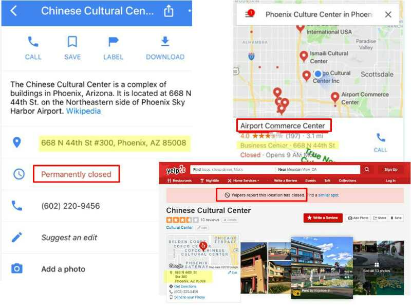 Lots of FAKE information about the Chinese Cultural Center