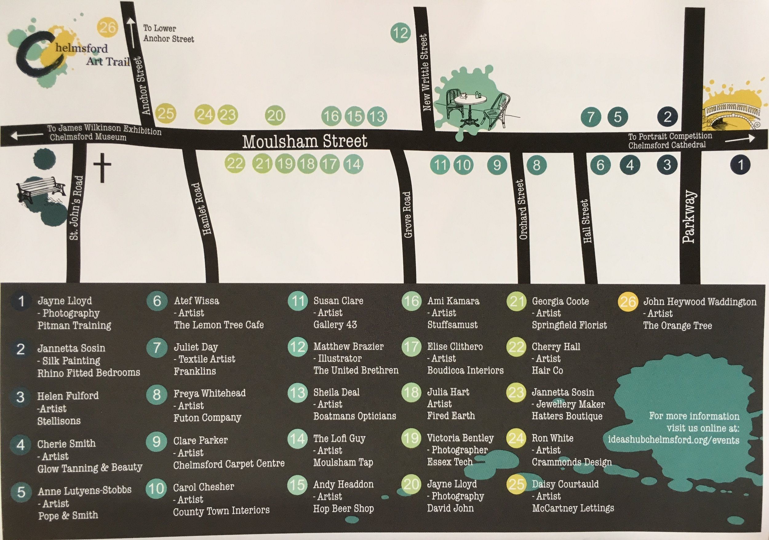 Here's the map of Moulsham Street - I'm at location 11, inside Gallery 43.