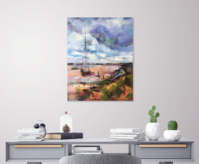 'Sailboat at Heybridge Basin' ©Susan Clare, above a desk