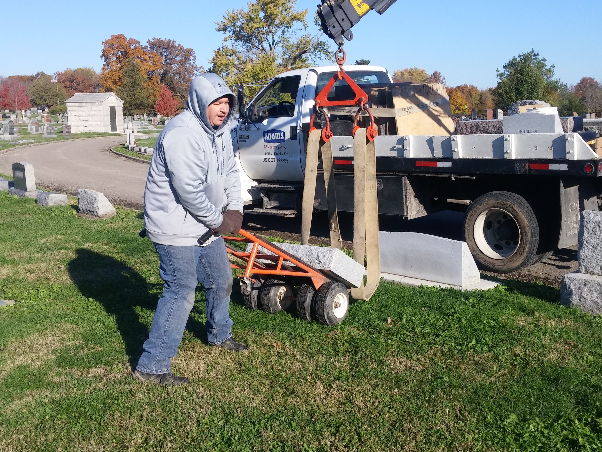 Moving stone with hand cart to proper location