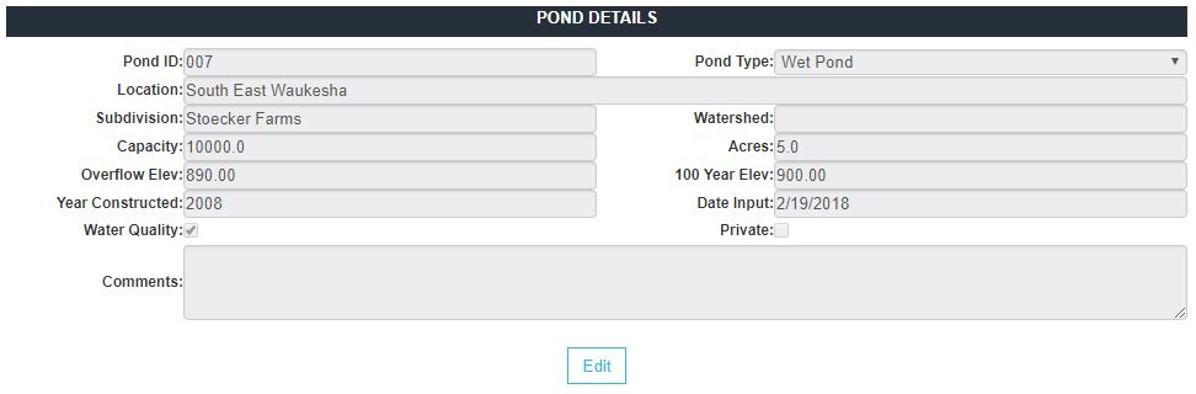 Pond Data Form