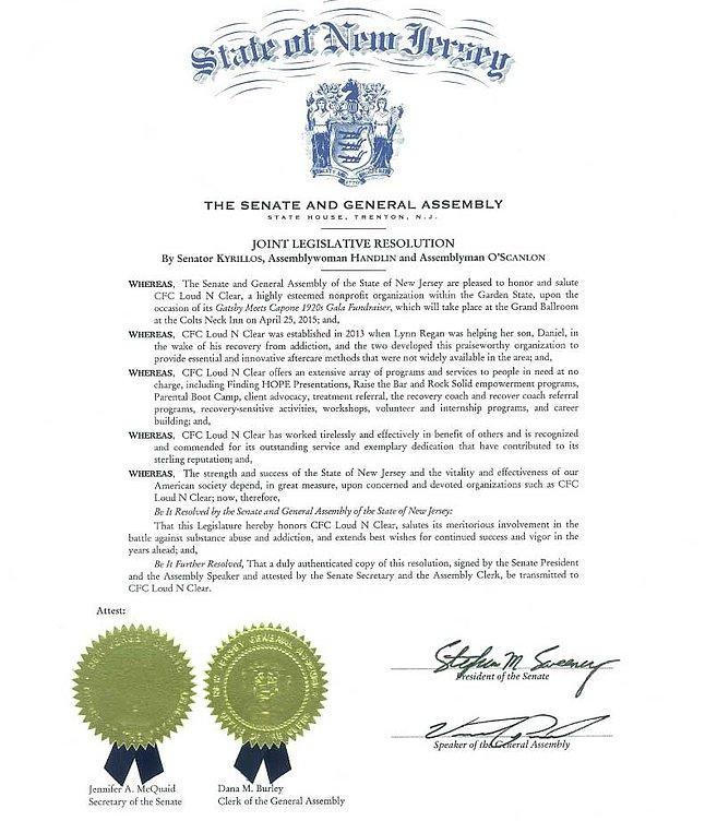 New Jersey State Proclamation