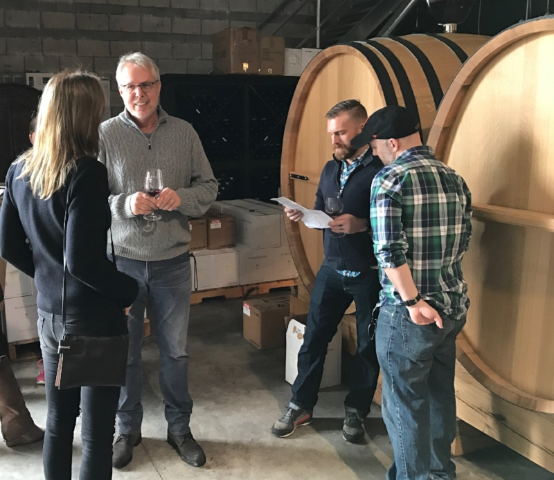 Doug Margerum and tasters at the winery