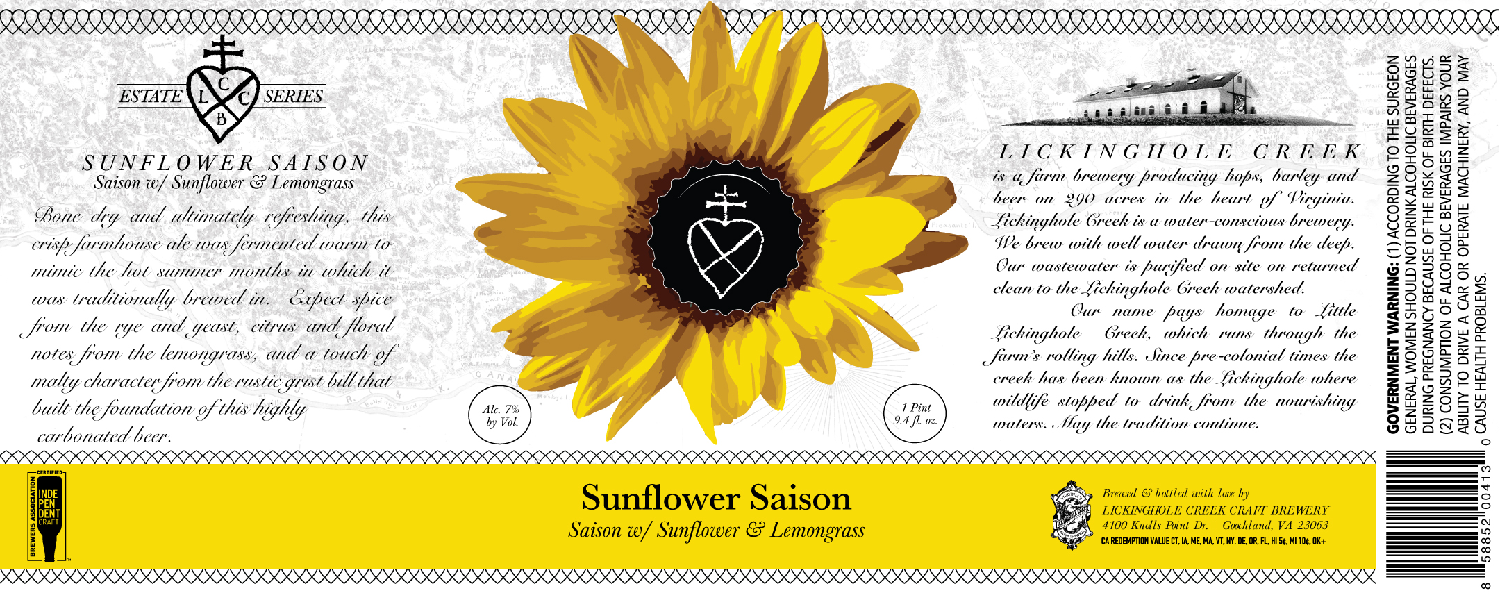 Sunflower Saison   Saison w/ Sunflower & Lemongrass  7% Alc. by Vol.  Bone dry and ultimately refreshing, this crisp farmhouse ale was fermented warm to mimic the hot summer months in which it was traditionally brewed in. Expect spice from the rye and yeast, citrus and floral notes from the lemongrass, and a touch of malty character from the rustic grist bill that built the foundation of this highly carbonated beer.