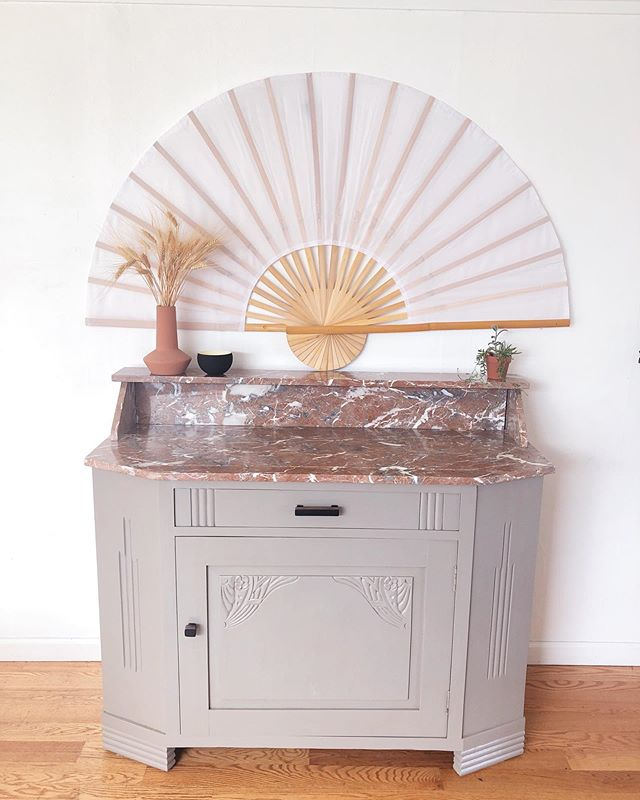 New vintage buffet💞  #vintage #buffet #interiordecorating #interiors #interiorstyling #1920s #pinkmarble #marble