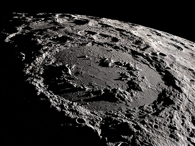 The Moon's Schrödinger crater is well known for its mountain peaks encircling the crater's center. Credit: NASA