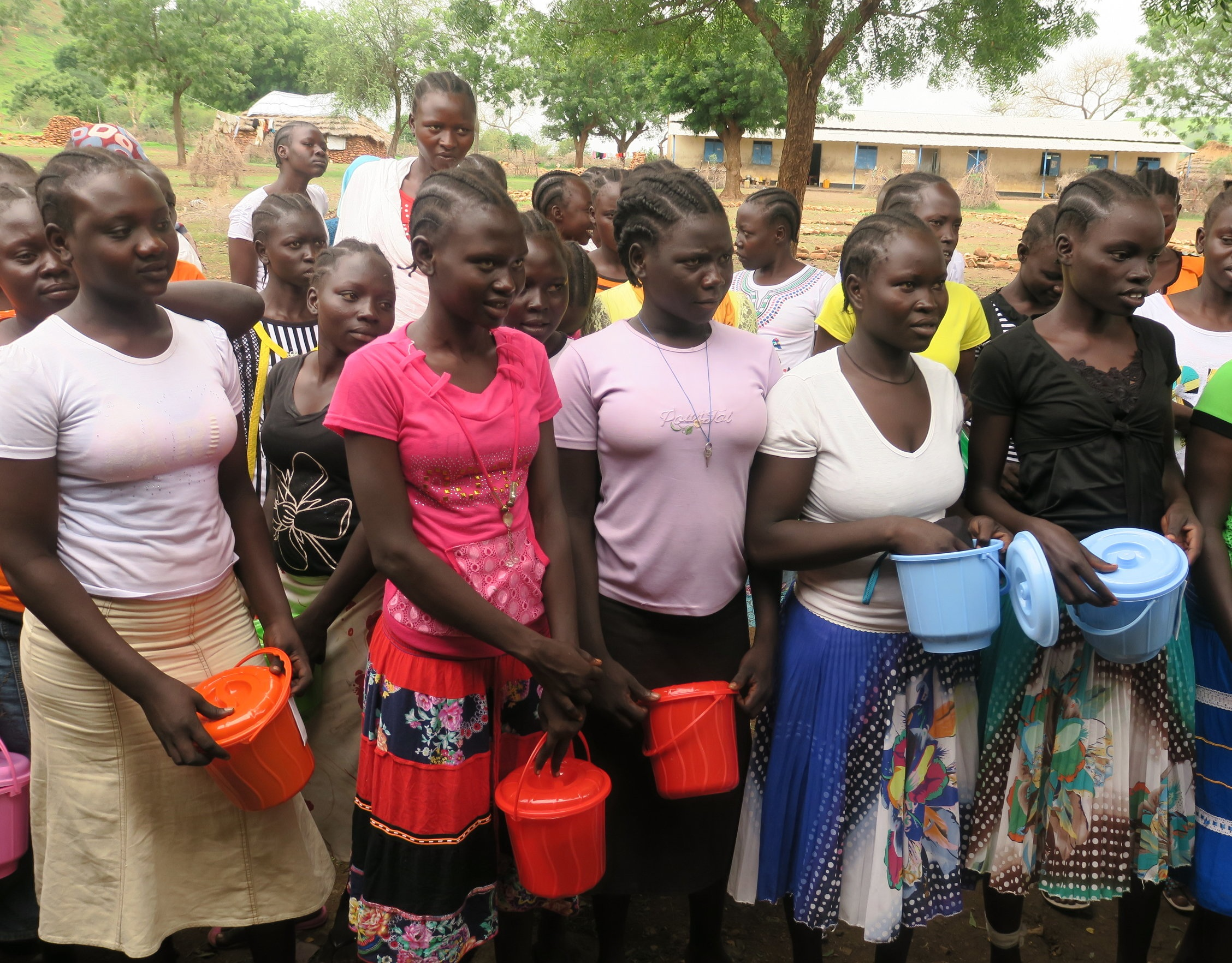 Nuba girls receive Dignity Kits.
