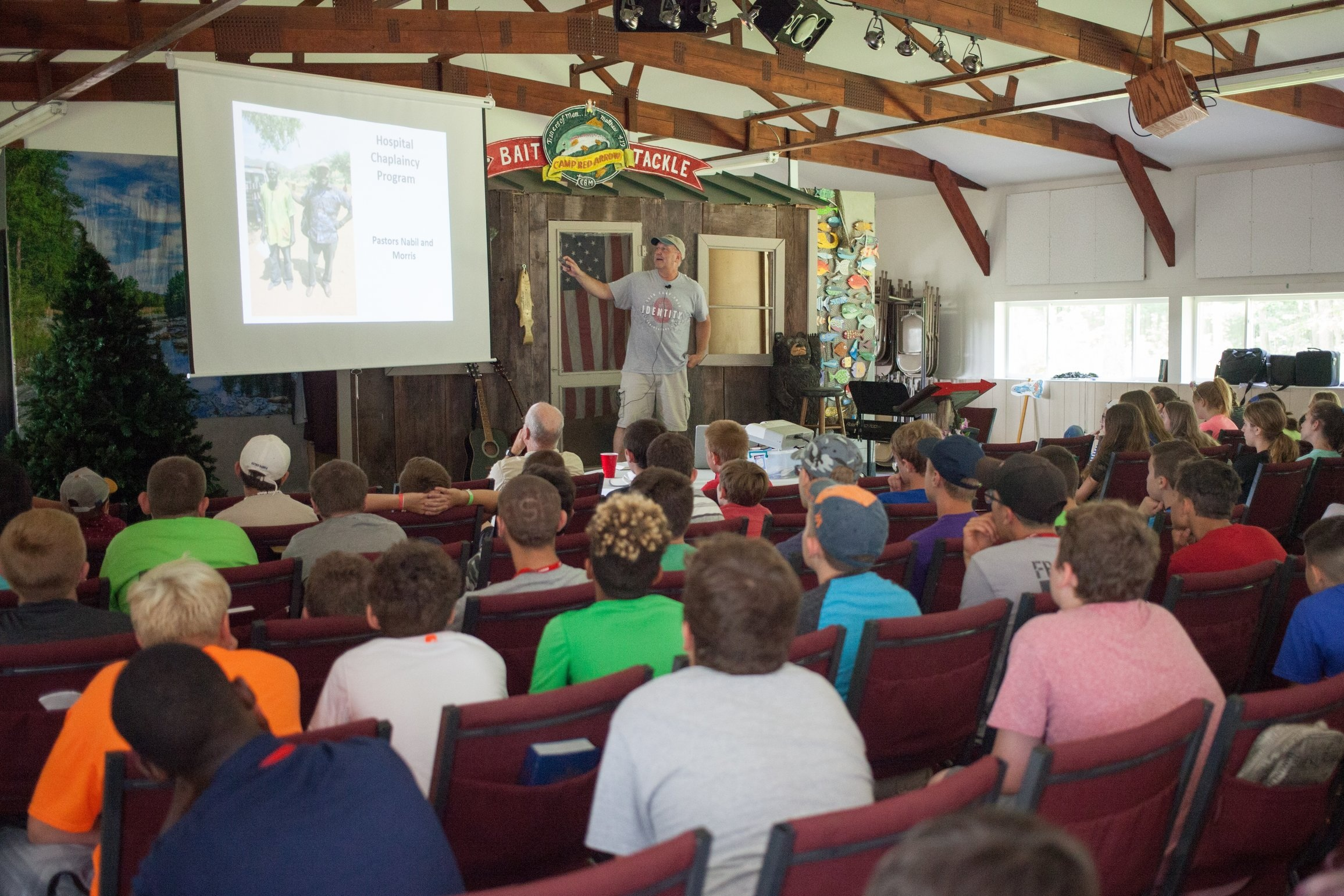 Ed Lyons addressing young people at Camp Red Arrow