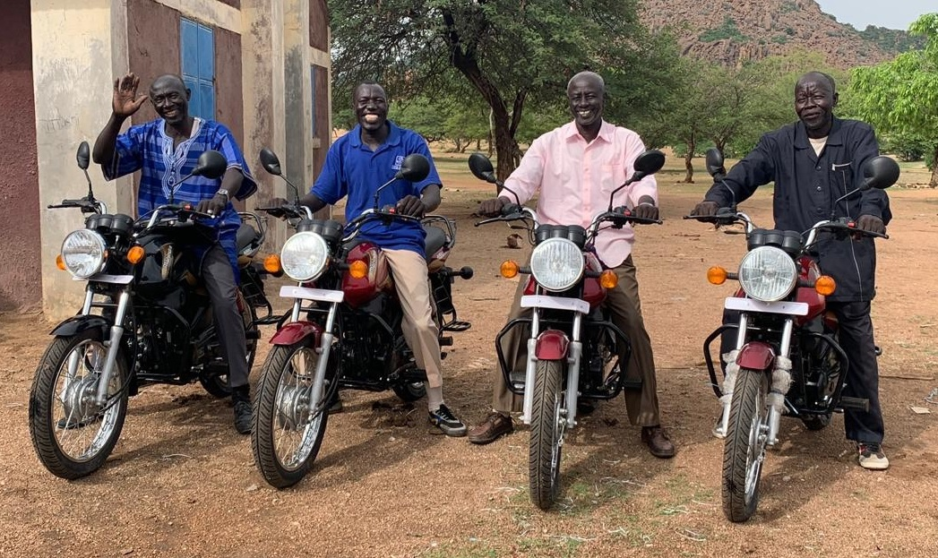 These pastors recently received motorbikes to facilitate their work.