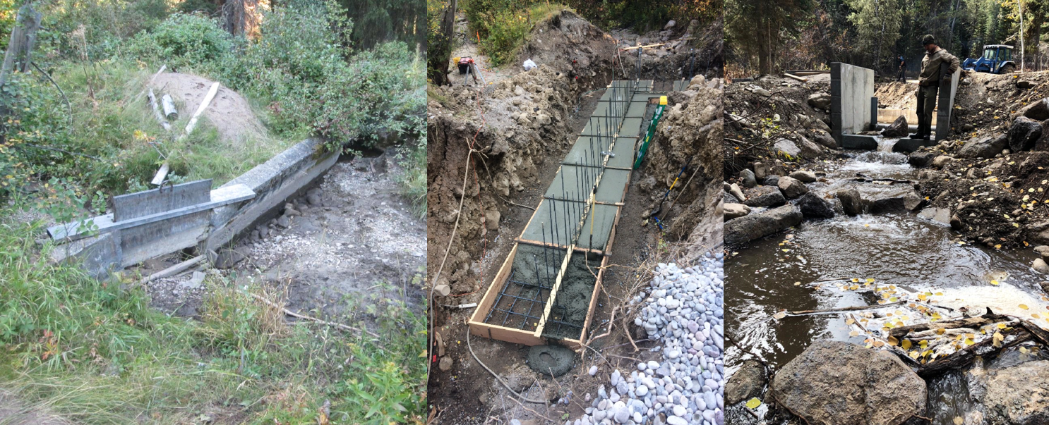 These photos were taken before, during, and after the processes of constructing the improved Trail Creek diversion structure.