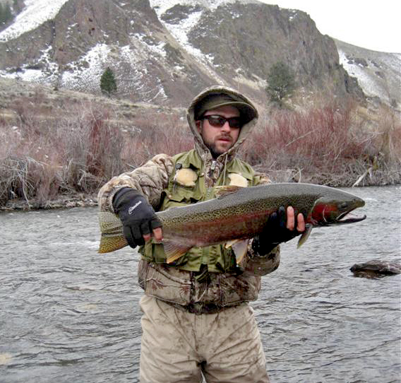 Carlin with an okay-sized steelhead.