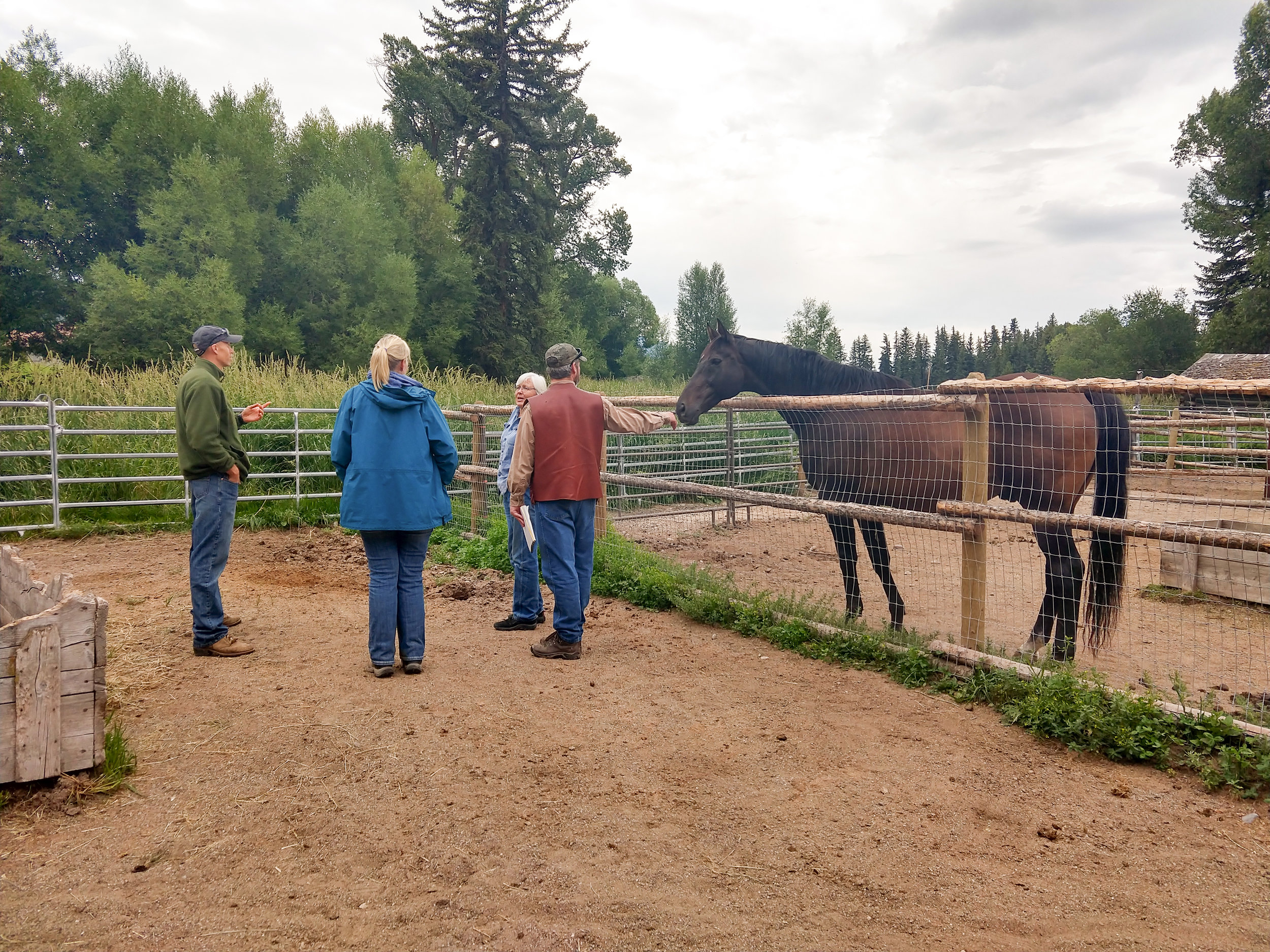 Alayne and Teton Conservation District staff visiting Crane Creek Ranch.