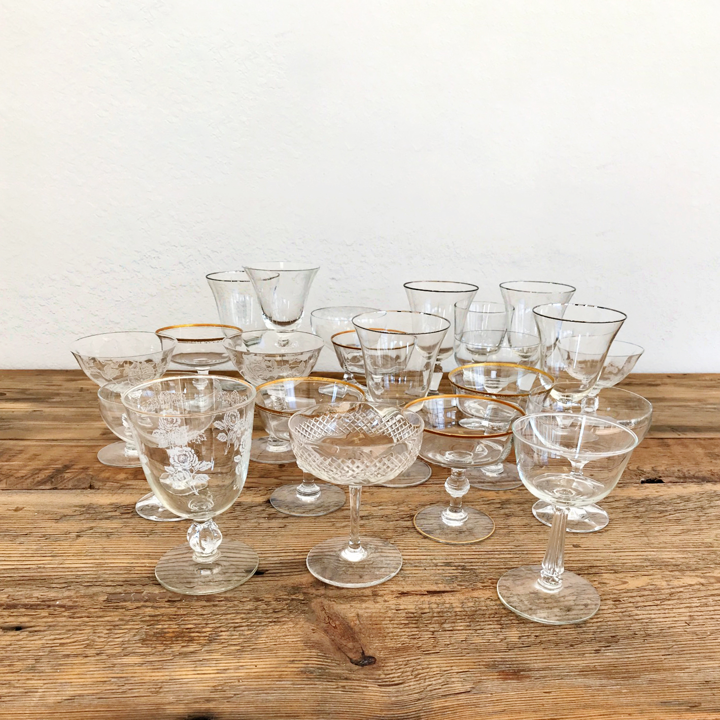 renee landry events glassware ecclectic cut glass gold rimmed boho wedding rentals.jpg