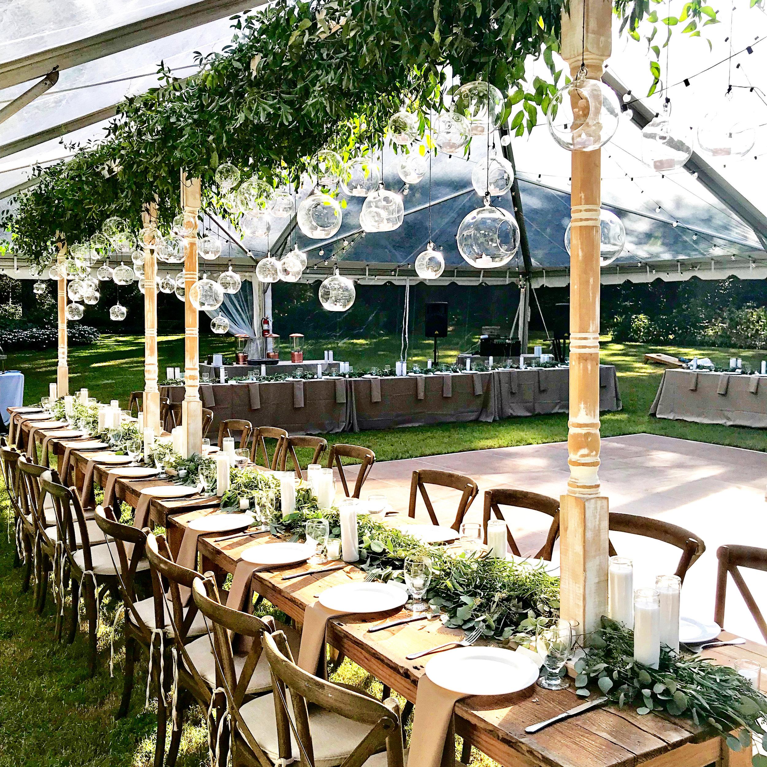 renee landry events lighting glass globe hanging wedding decor reception greenery candles boho rentals.jpg