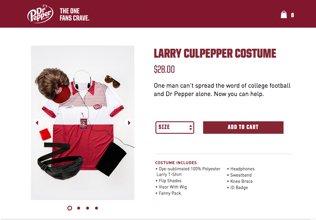 Larry & Halloween - We created costumes, sold them online, and had Larry promote them across social.