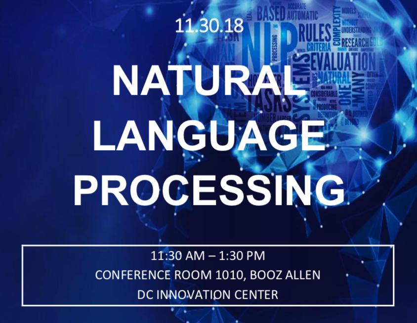 Advertisement for my brownbag workshop on natural language processing for Booz Allen Hamilton's Women in Data Science group.
