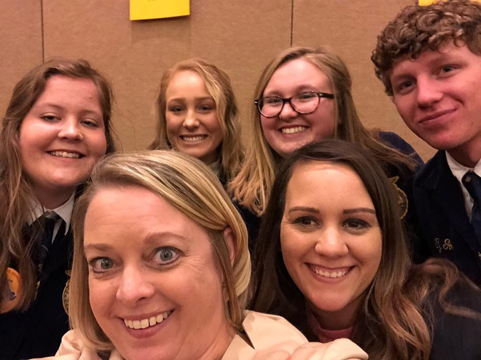 """Lindsay Henricks and Nikki Snider grab a quick """"selfie"""" with the award winners before they go on stage!"""