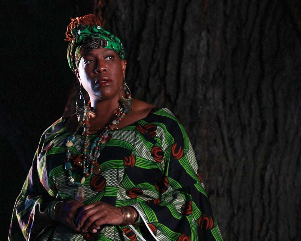 Gracy Brown as Gower from Elm Shakespeare Company's 2014 Free Shakespeare in the Park production of PERICLES Photo Mike Franzman.jpg