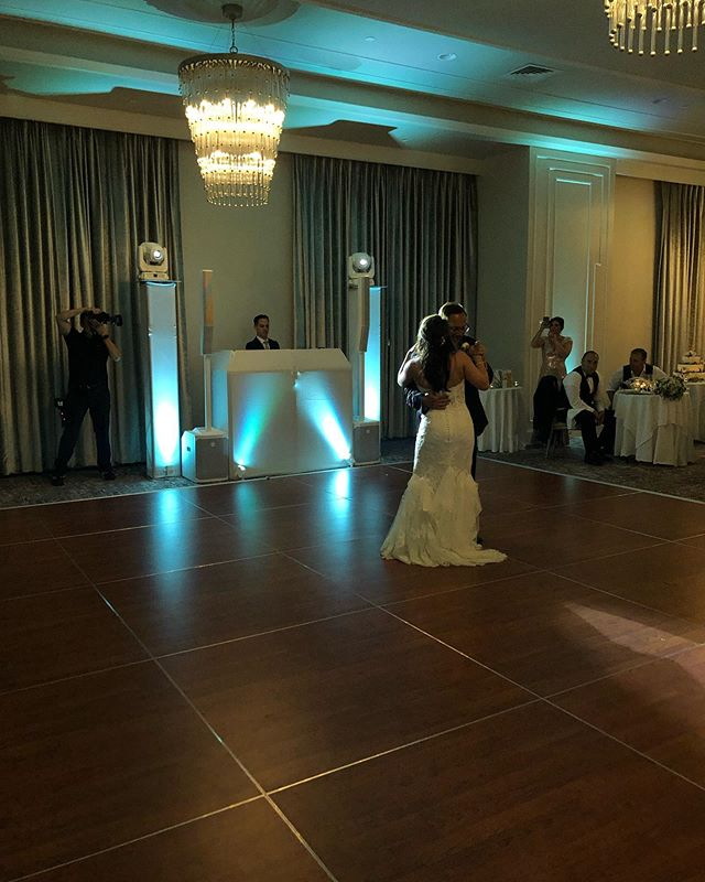 That #specialdance moment with a little dimmed #spotlight at the request of the #photographer. We love working alongside other pro's to get the right shot and deliver the best service we can.  #weddingDJ #delarhotel #connecticutwedding #whitewedding #whitedjbooth #intelligentlighting #uplights #bride #groom @delamarhotels