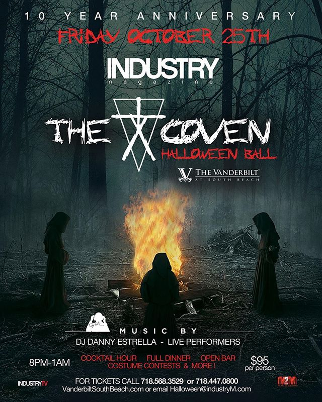 This party is certainly 1 not to be missed. #Halloween is 1 of our favorite holidays. Join us for our 10th year! @industry.magazine and we turn @vanderbilt_southfin_events into a wild party filled with some of the best costumes, costume contest, great food, open bar, best music by our crew and way more!!! #HalloweenParty #CostumeContest #industrymagazine  #vanderbiltsouthbeach