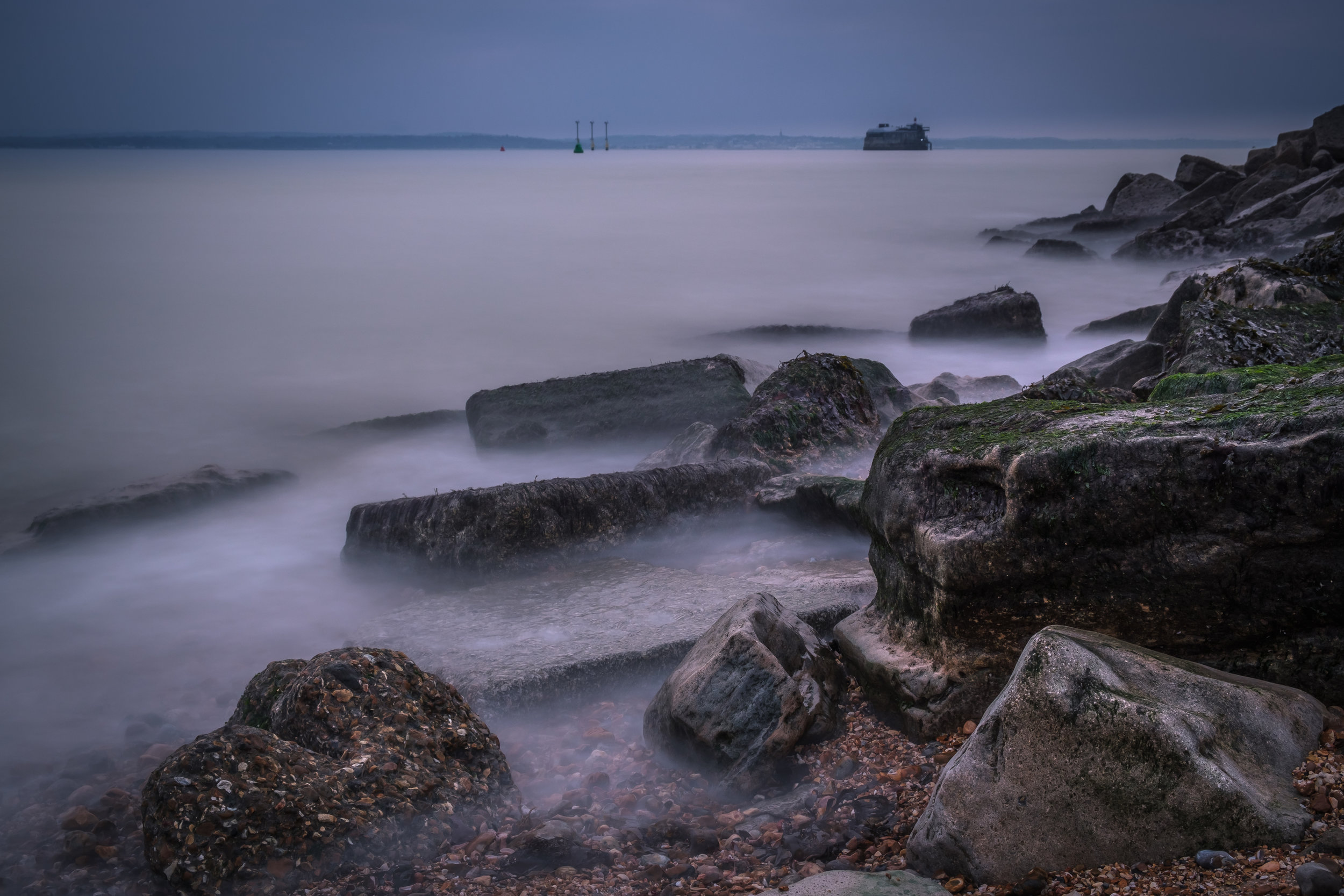 Misty Waters at the Sea Rocks - Southsea, UK