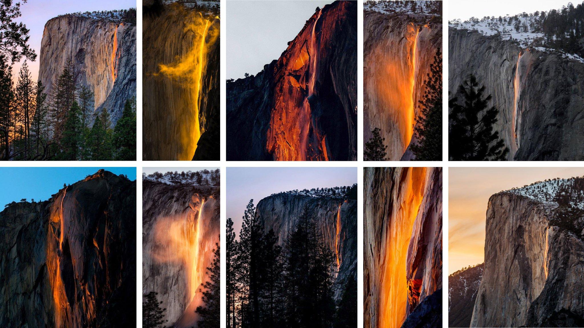 At Yosemite, a Waterfall Turns Into a Firefall