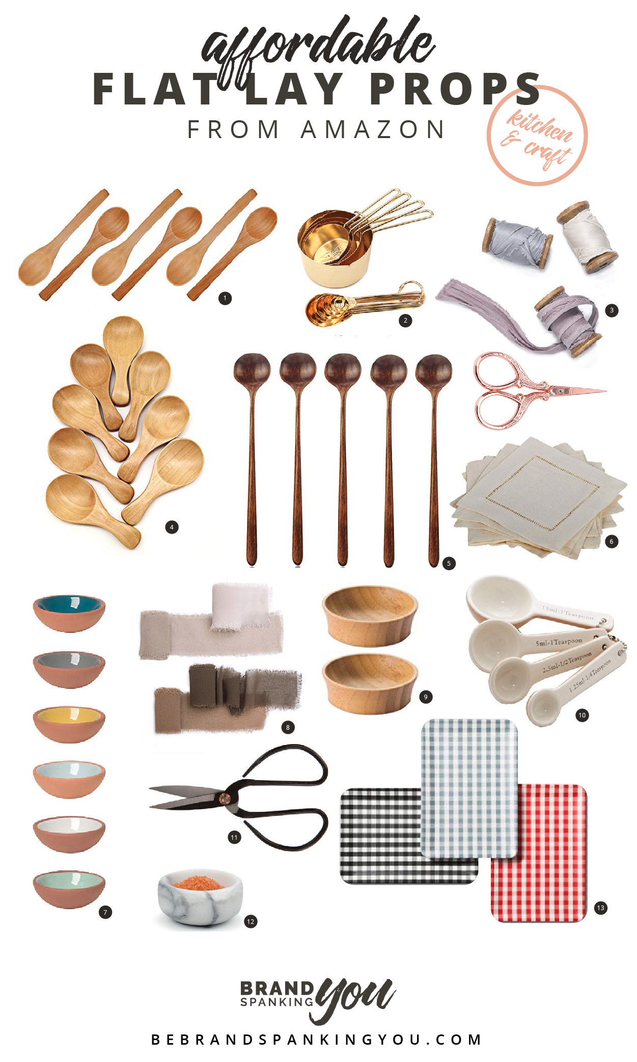 Good flat lay props are hard to find sometimes! Here's a round-up of 13 affordable props for kitchen and crafting that you can find on Amazon.