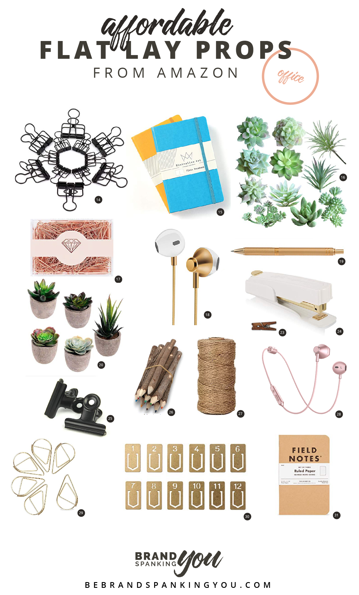 Props can make or break your flat lay. Use these styling props to create compelling office scenes in your social media posts. All super affordable and available on Amazon!