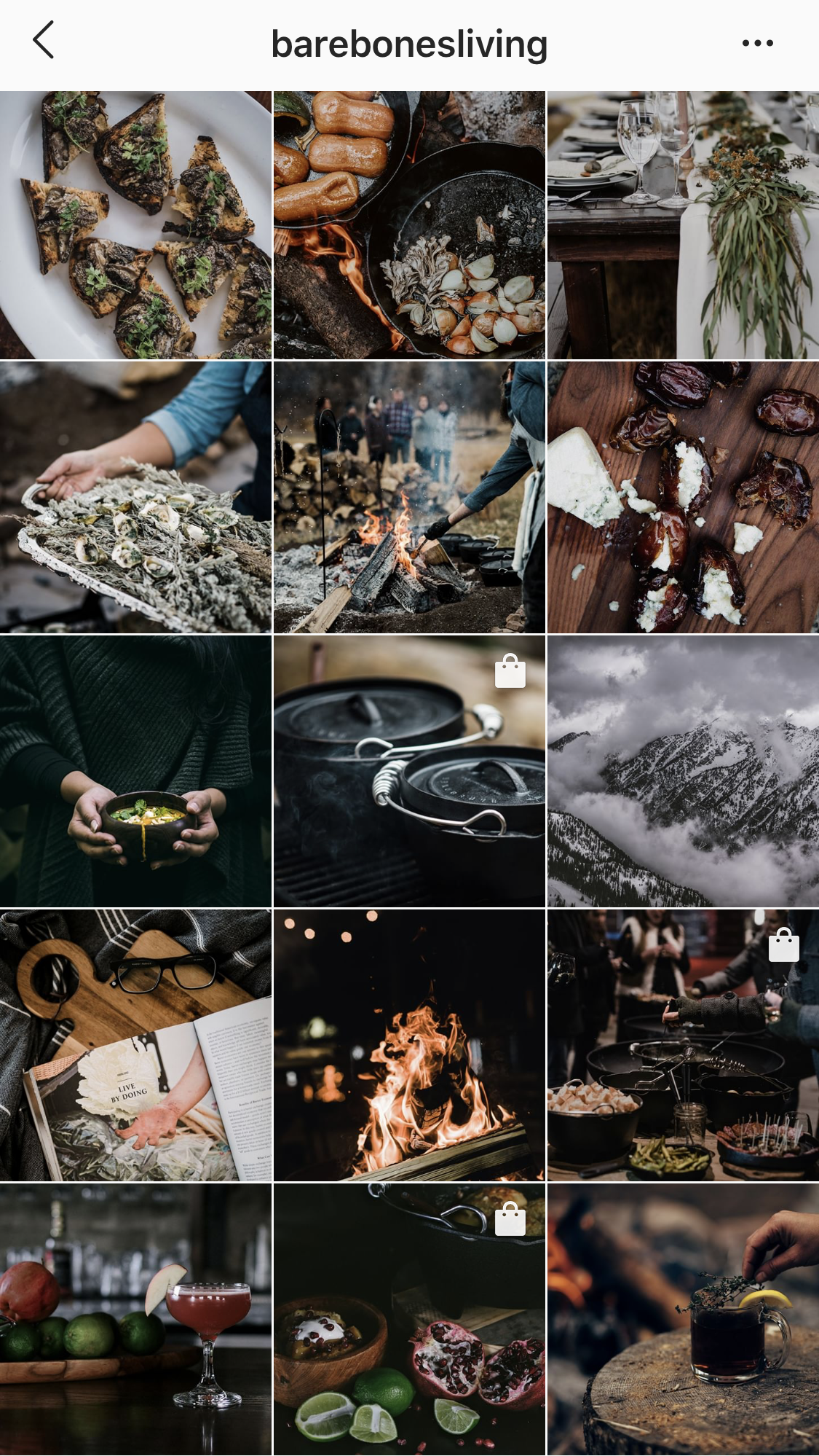Bare Bones Living Instagram feed. An excellent example of how to use visual storytelling to elevate your brand. Images convey a sense of rustic sophistication for the outdoorsy, adventurous type