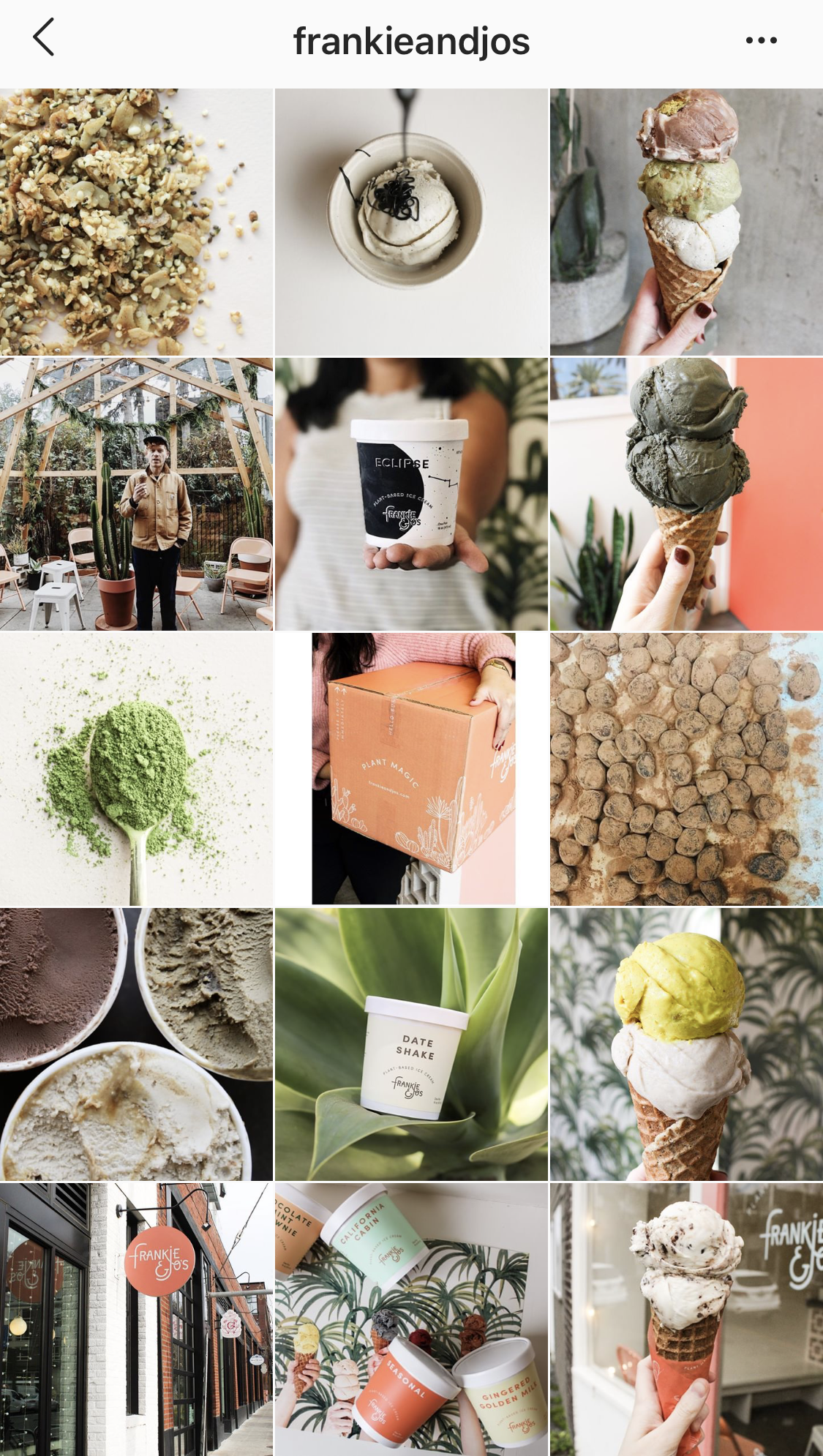 Frankie and Jos plant based ice cream know exactly how to tell their brand story through visuals on their Instagram. A muted, focused color palette with a focus on gorgeous shots of their product and ingredients. Brand photography done right!