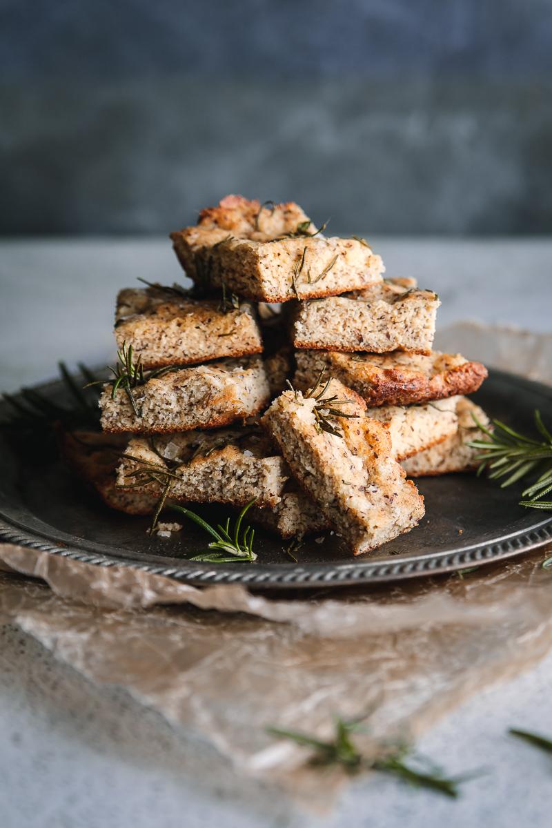 Grain Free (Keto & Whole 30) Sea Salt and rosemary focaccia bread.