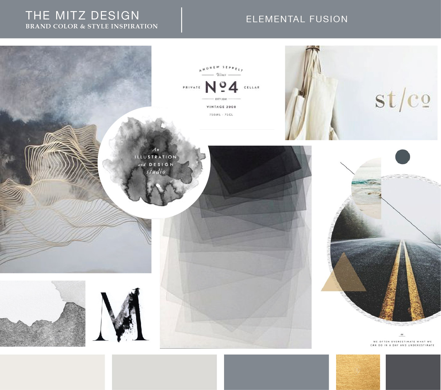 Moodboard for The Mitz Brand Identity. Design by Sarah Ehlinger | Brand Spanking You